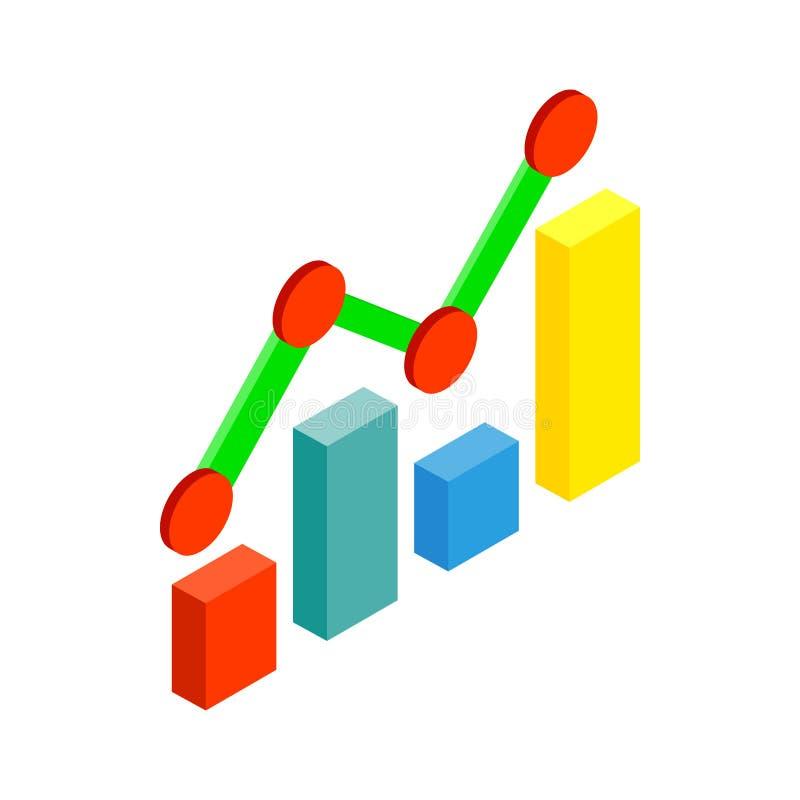 Bedrijfsgrafiek en grafiekpictogram, isometrische 3d stijl stock illustratie