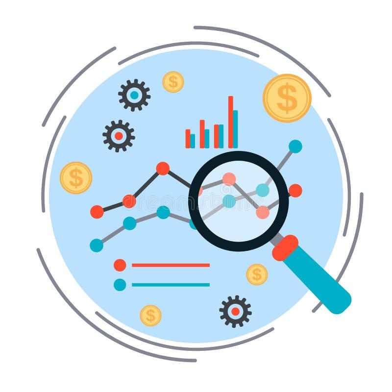 Bedrijfsgrafiek, financieel statistieken vectorconcept vector illustratie