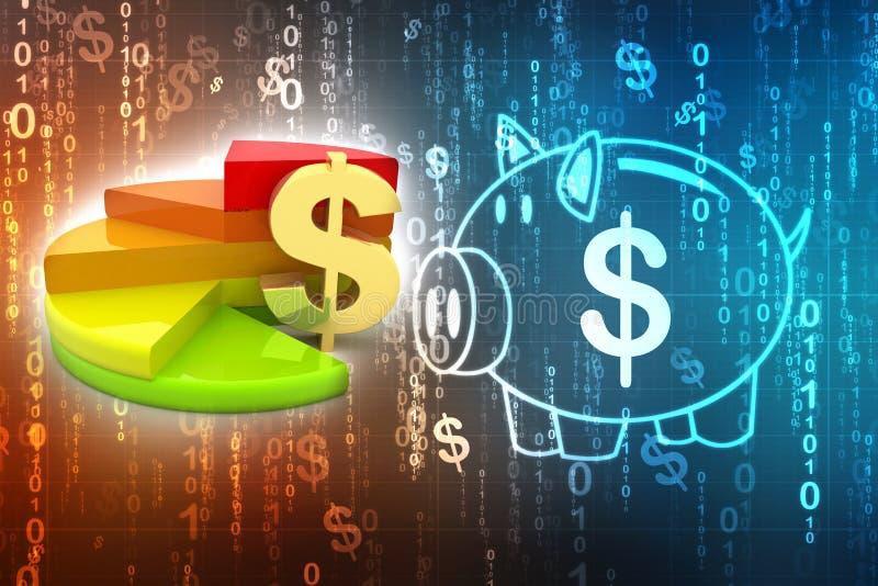 Bedrijfsgrafiek met Dollarteken, Bedrijfssucces 3d geef terug stock illustratie