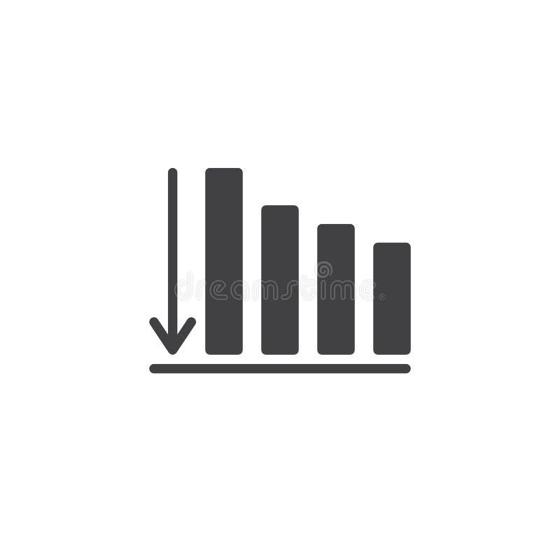 Bedrijfsgrafiek met pijl onderaan vectorpictogram stock illustratie