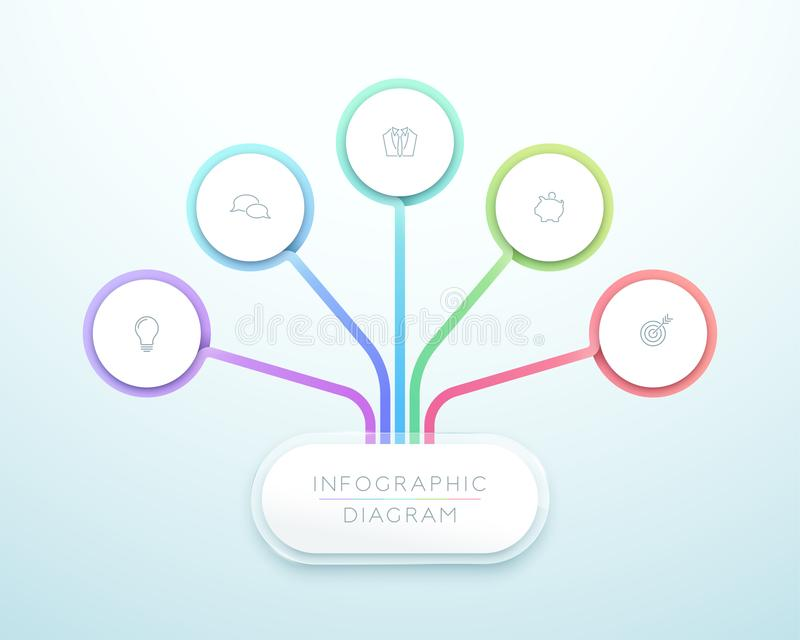 Bedrijfsgrafiek 5 Vector van Infographic van de Stap 3d Cirkel vector illustratie