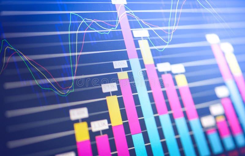 bedrijfsgrafiekgrafiek van effectenbeursinvestering het rapportgrafiek van de handeleffectenbeurs van financiële raadsvertoning royalty-vrije stock fotografie
