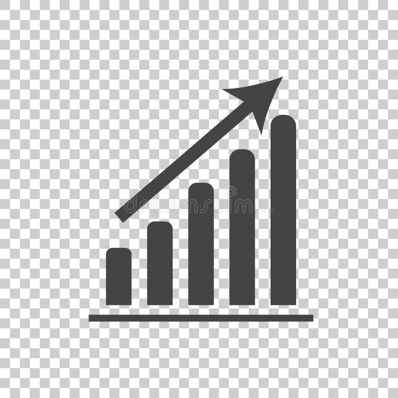 Bedrijfsgrafiekpictogram Grafiek vlakke vectorillustratie op witte bac vector illustratie