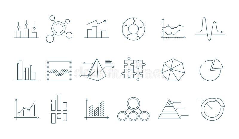 Bedrijfsgrafiekpictogram Neigende de pijlen vectorsymbolen van het grafieken eenvoudige lineaire diagram vector illustratie