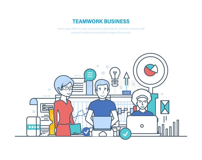 Bedrijfsgroepswerk, opstarten, brainstorming Samenwerking, vennootschap met collega's, samenwerking royalty-vrije illustratie