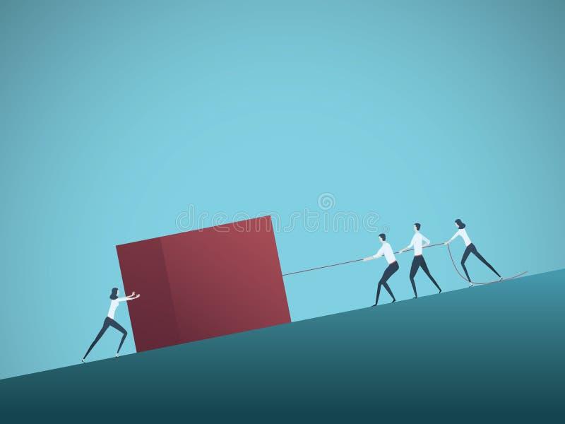 Bedrijfsgroepswerk vectorconcept met bedrijfsmensen die kubushelling duwen Symbool van teaminspanning, sterkte, macht royalty-vrije illustratie