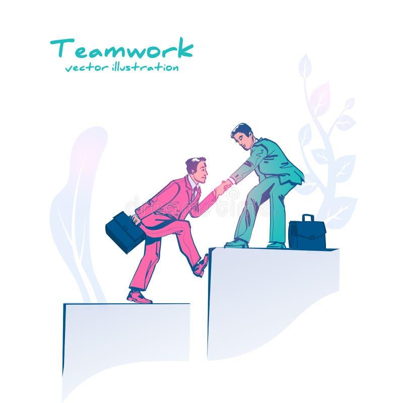Bedrijfsgroepswerk Zaken die concept helpen Vectorschetsontwerp stock illustratie
