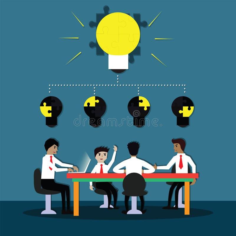 Bedrijfsgroepswerkconcept, Commerciële teamvergadering en gedeeld idee - Vector royalty-vrije illustratie