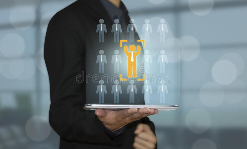 Bedrijfshand met pictogrammensen conceptenwerkgelegenheid, rekrutering, stock foto's