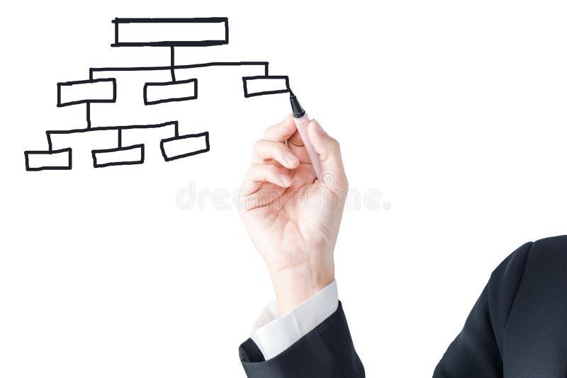 Bedrijfshand met tekenings leeg diagram royalty-vrije stock afbeelding