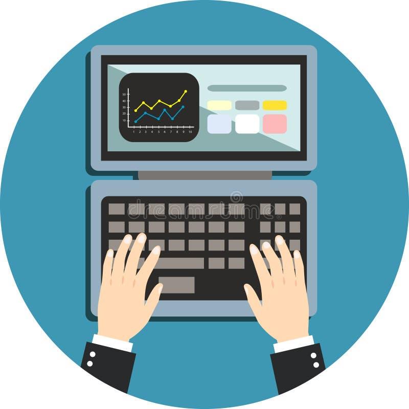 Bedrijfshand op notitieboekjetoetsenbord vector illustratie