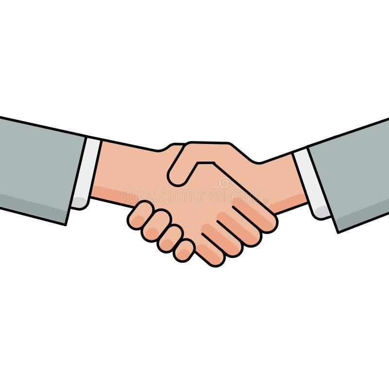 Bedrijfshanddruk, groet en overeenkomstenteken royalty-vrije illustratie