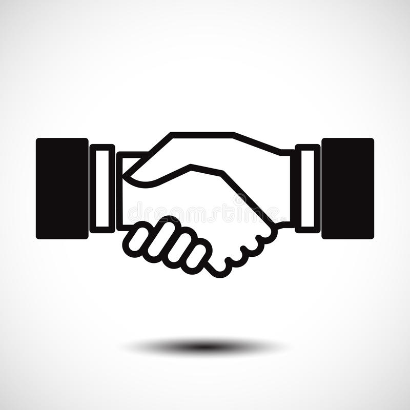 Bedrijfshanddruk/het vlakke pictogram van de contractovereenkomst voor apps en websites stock illustratie