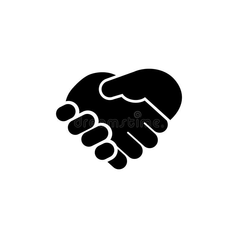 Bedrijfshanddruk, het Vlakke Vectorpictogram van de Contractovereenkomst royalty-vrije illustratie
