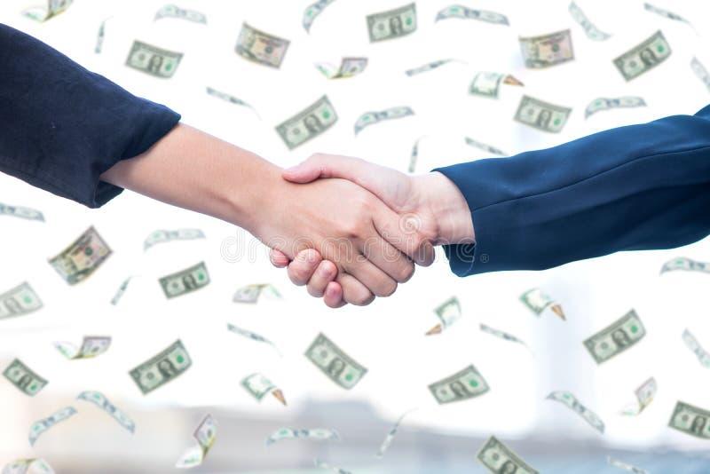 Bedrijfshanddruk met geld royalty-vrije stock afbeeldingen