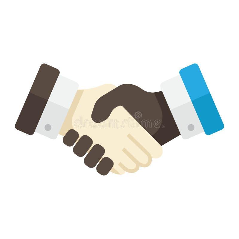 Bedrijfshanddruk vlak pictogram, contractovereenkomst stock illustratie