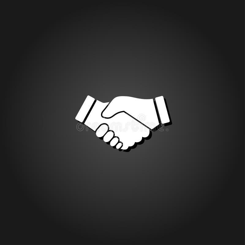 Bedrijfshanddruk, vlakke het pictogram van de contractovereenkomst royalty-vrije illustratie