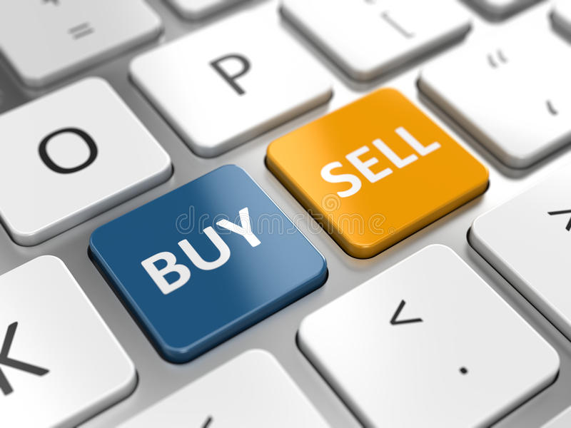 Bedrijfshandel of voorraden online concept vector illustratie