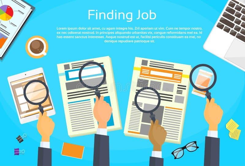 Bedrijfshanden die Job Newspaper zoeken royalty-vrije illustratie
