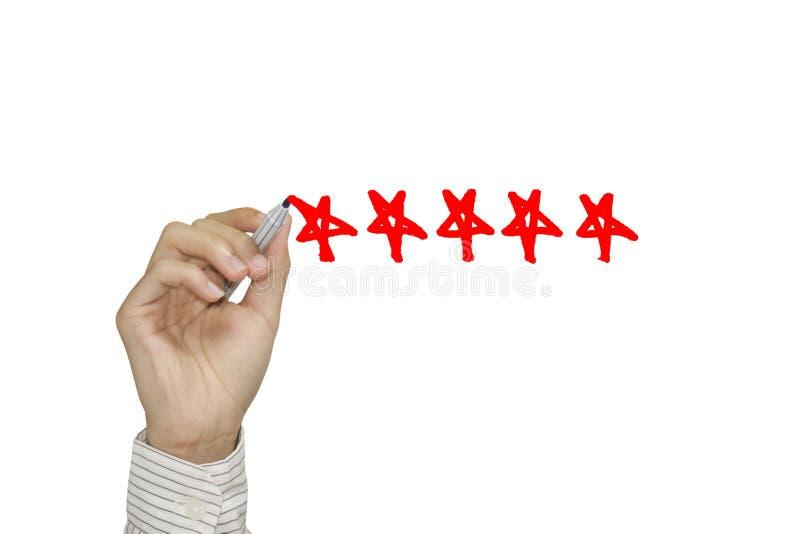 Bedrijfshandvinkje met rode teller op vijfsterrenclassificatie stock afbeelding