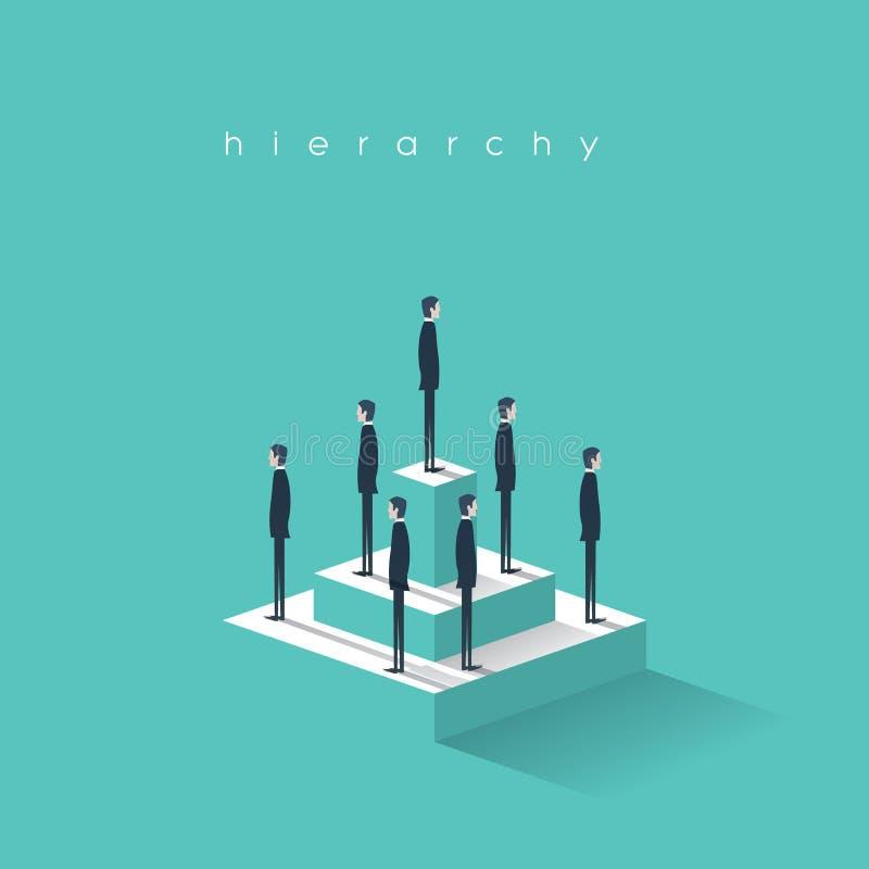 Bedrijfshiërarchie in bedrijfconcept met zakenlieden die zich op een piramide bevinden Collectieve organisatorische grafiekstruct vector illustratie