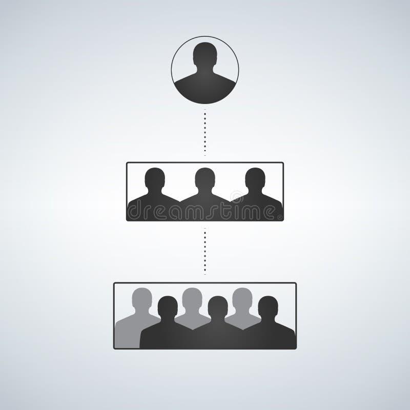 Bedrijfshiërarchiestructuur, mensensilhouet stock illustratie