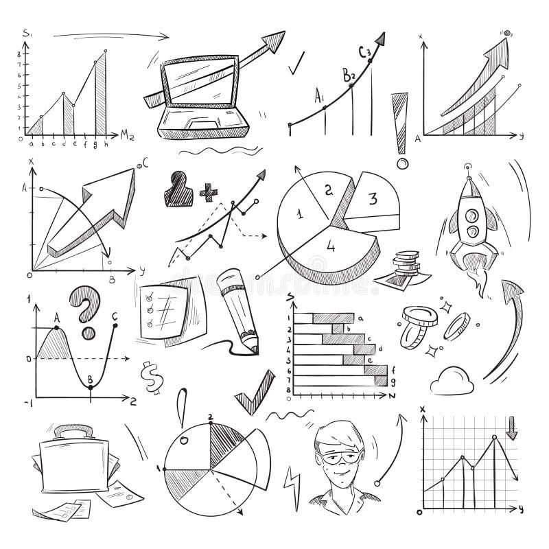 Bedrijfsidee, creatief opstarten, financiële investeringsschets, krabbel, hand getrokken infographic elementen vector illustratie