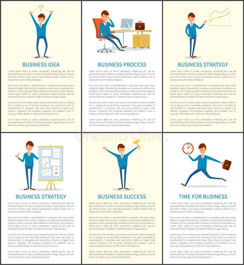 Bedrijfsidee en Proces, Chef- Working in Bureau stock illustratie