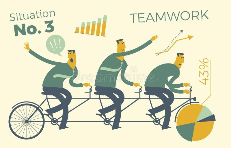 Bedrijfsinfographics, bedrijfssituaties Het groepswerk, arbeiders gaat naar het doel op één enkele manier Voltooiing van doel, ca royalty-vrije illustratie