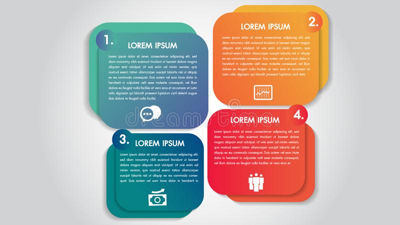 Bedrijfsinfographics 4 de ontwerpsjabloon van stappenopties Gegevens en informatievisualisatie Dynamische kleurrijke modieuze ele stock illustratie