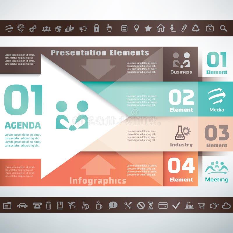 Bedrijfsinfographics en presentatiemalplaatje royalty-vrije illustratie