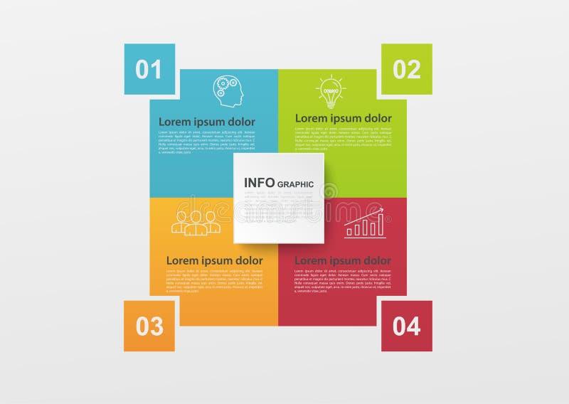 Bedrijfsinfographics met 4 kleurrijke stappen of processen, blokdiagram Infographicelementen voor informatiegrafiek, diagrammen stock illustratie