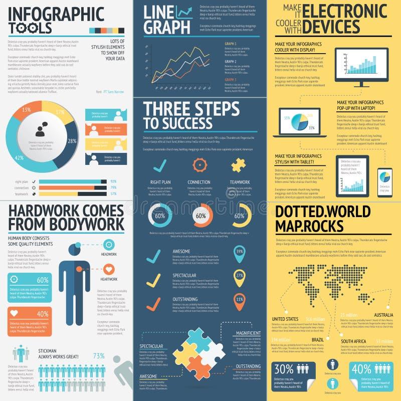 Bedrijfsinfographics vectorelementen in 3 vlakke bedrijfskleuren stock illustratie