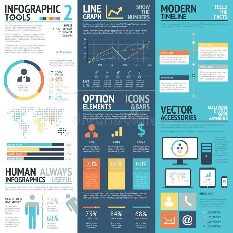 Bedrijfsinfographics vectorelementen in vlakke bedrijfskleuren royalty-vrije illustratie