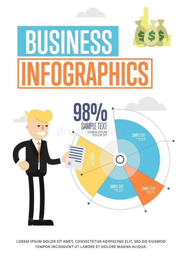 Bedrijfsinfographicsbanner met cirkeldiagram stock illustratie