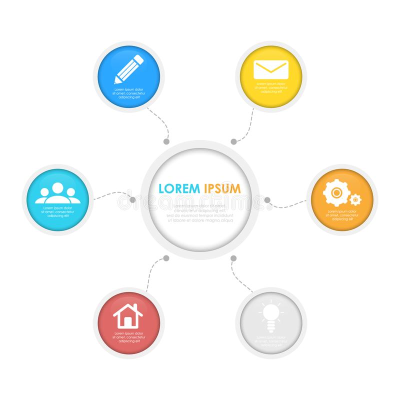 Bedrijfsinfographicsmalplaatje met cirkel vector illustratie