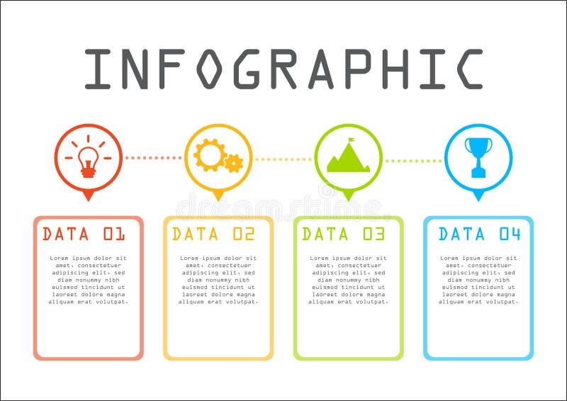 Bedrijfsinformatie grafisch concept, tijdlijn, stap voor stap royalty-vrije stock afbeeldingen