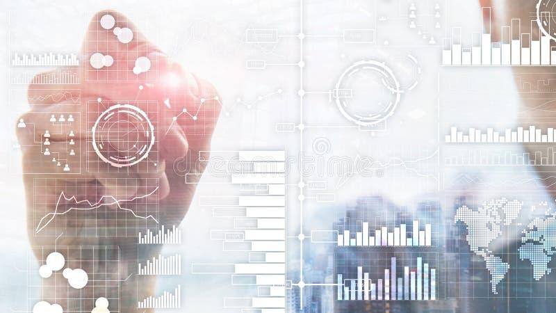 Bedrijfsintelligentie Diagram, Grafiek die, Voorraad, Investeringsdashboard, transparante vage achtergrond handel drijven royalty-vrije stock fotografie