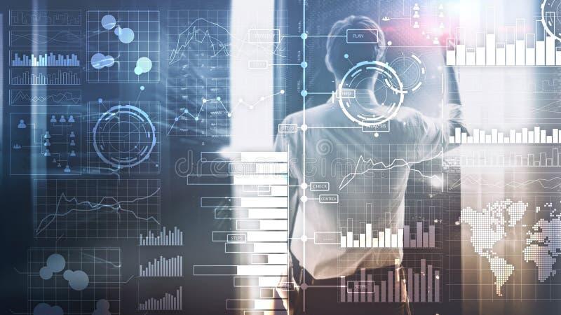 Bedrijfsintelligentie Diagram, Grafiek die, Voorraad, Investeringsdashboard, transparante vage achtergrond handel drijven stock foto