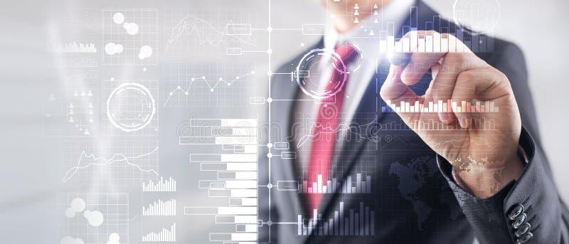 Bedrijfsintelligentie Diagram, Grafiek die, Voorraad, Investeringsdashboard, transparante vage achtergrond handel drijven Zaken royalty-vrije stock afbeelding