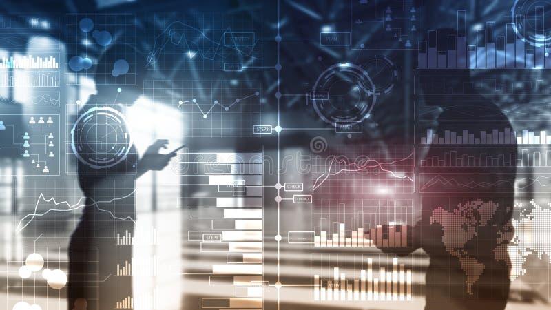 Bedrijfsintelligentie Diagram, Grafiek die, Voorraad, transparant Investeringsdashboard, handel drijven stock afbeeldingen