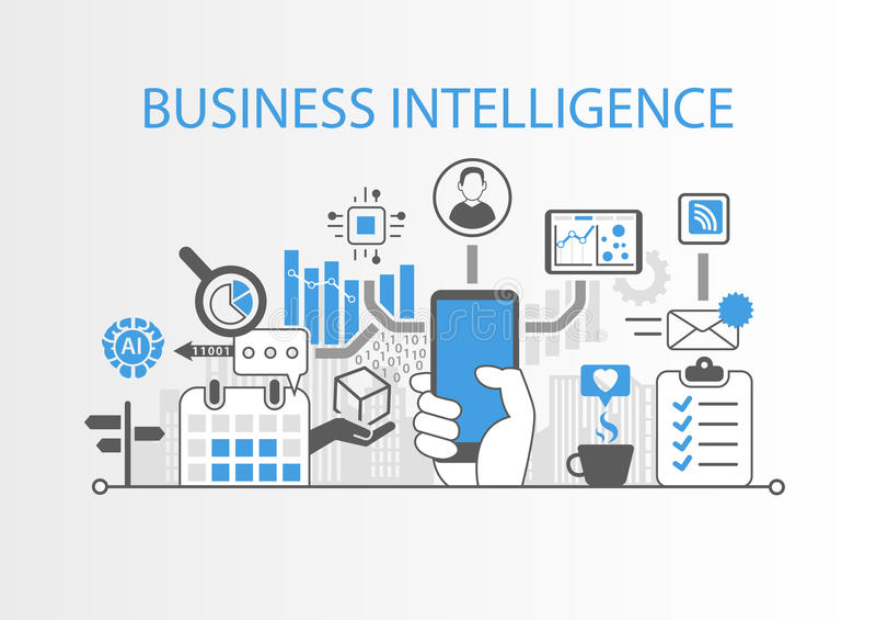 Bedrijfsintelligentieconcept als achtergrondillustratie met diverse symbolen stock illustratie