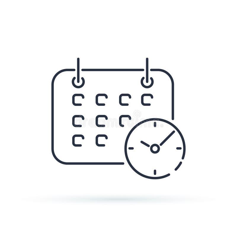 Bedrijfskalender met klokpictogram De stijlsymbool van de Shedule in die lijn op achtergrond wordt geïsoleerd vector illustratie