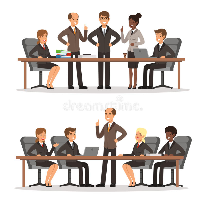 Bedrijfskarakter bij de lijst in conferentiezaal Man en vrouw in rijk kostuum Vector geplaatste illustraties