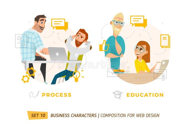 Bedrijfskarakters in cirkel royalty-vrije illustratie