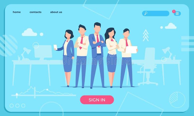 Bedrijfskarakterswebpagina Vlakke het beeldverhaal grappige mannetje en vrouw van bureaumensen De vectorwebsite van het bedrijfsk royalty-vrije illustratie