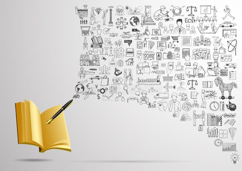 Bedrijfskrabbels met vulpen die op leeg notitieboekje schrijven OM LIJST OF BUSINESSPLANconcept TE DOEN vector illustratie