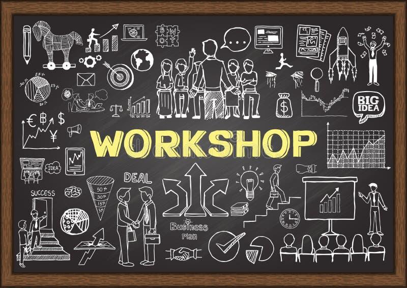 Bedrijfskrabbels op bord met workshopconcept Hand getrokken businessplan op bord vector illustratie