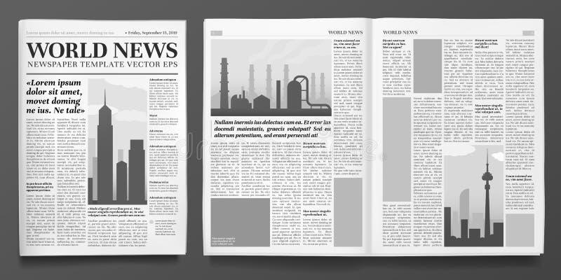 Bedrijfskrantenmalplaatje Financiële nieuwskrantekop, krantenpagina's en financiëndagboek geïsoleerde vectorillustratie royalty-vrije illustratie