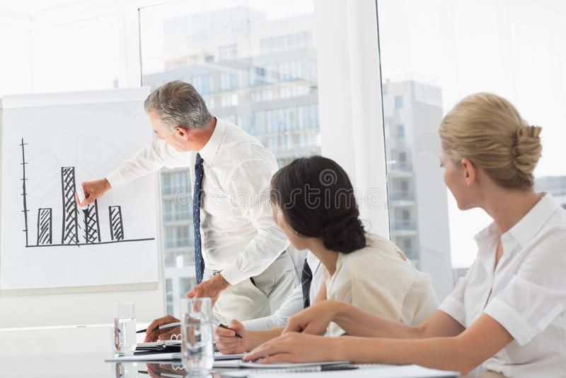 Bedrijfsleider die grafiek voorleggen aan zijn personeel royalty-vrije stock fotografie